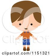 Cartoon Of A Happy Brunette Boy 3 Royalty Free Vector Illustration