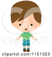 Cartoon Of A Happy Brunette Boy Royalty Free Vector Illustration