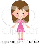 Happy Brunette Woman In A Pink Dress