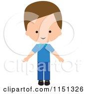 Cartoon Of Happy Man Dressed In Blue Royalty Free Illustration