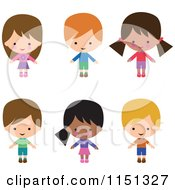 Cartoon Of Six Happy Children Royalty Free Illustration