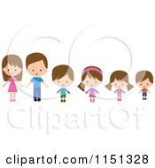 Cartoon Of Happy Parents With Four Children Royalty Free Illustration by peachidesigns