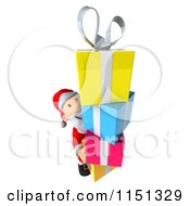 Clipart Of A 3d Happy Santa Carrying A Stack Of Presents Royalty Free CGI Illustration