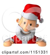 Clipart Of A 3d Happy Santa Smiling Down At A Sign Royalty Free CGI Illustration