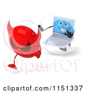Clipart Of A 3d Laptop Computer Mascot Chasing A Devil Virus Royalty Free CGI Illustration