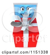 Clipart Of A 3d Laptop Computer Mascot Holding Up A Gift Box Royalty Free CGI Illustration