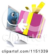 3d Laptop Computer Mascot Holding Up A Present