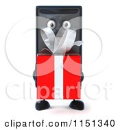 Clipart Of A 3d Computer Tower Mascot Holding A Present Royalty Free CGI Illustration