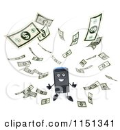Clipart Of A 3d Computer Tower Mascot And Floating Cash Royalty Free CGI Illustration by Julos