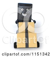 Clipart Of A 3d Computer Tower Mascot Pushing Boxes On A Dolly Royalty Free CGI Illustration