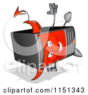 Cartoon Of A Devil Desktop Computer Tower Mascot Doing A Hand Stand Royalty Free Illustration by Julos
