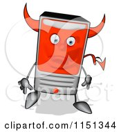 Cartoon Of A Sad Devil Desktop Computer Tower Mascot Royalty Free Illustration by Julos