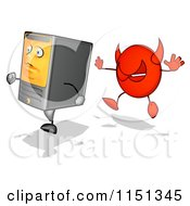 Cartoon Of A Devil Virus Chasing A Desktop Computer Mascot Royalty Free Illustration by Julos