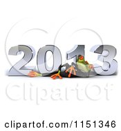 Clipart Of A 3d Formal Frog Reclining In A Tuxedo By 2013 Royalty Free CGI Illustration
