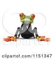 Clipart Of A 3d Formal Frog Sitting In A Tuxedo Royalty Free CGI Illustration