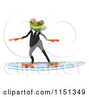 Clipart Of A 3d Formal Frog Surfing In A Tuxedo Royalty Free CGI Illustration