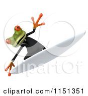 Clipart Of A 3d Formal Frog Surfing In A Tuxedo 3 Royalty Free CGI Illustration