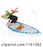 Clipart Of A 3d Formal Frog Surfing Royalty Free CGI Illustration