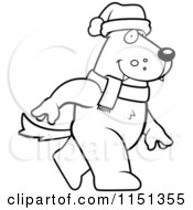 Cartoon Clipart Of A Black And White Christmas Wolf Walking Vector Outlined Coloring Page