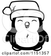 Cartoon Clipart Of A Black And White Happy Baby Christmas Penguin Vector Outlined Coloring Page