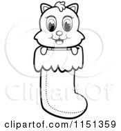 Cartoon Clipart Of A Black And White Cute Christmas Kitty In A Stocking Vector Outlined Coloring Page