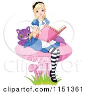Cartoon Of Alice And The Cheshire Cat Reading On A Mushroom Royalty Free Vector Illustration