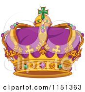 Cartoon Of A Purple Green And Gold Mardi Gras Crown Royalty Free Vector Illustration by Pushkin