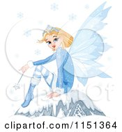 Cartoon Of A Winter Fairy Princess Sitting On A Boulder Under Snowflakes Royalty Free Vector Illustration