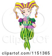 Cartoon Of A Happy Mardi Gras Jester Girl Sitting With Her Arms Over Her Knees Royalty Free Vector Illustration by Pushkin