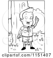 Cartoon Clipart Of A Black And White Knowledgeable Cub Scout Boy In The Woods Vector Outlined Coloring Page by Cory Thoman