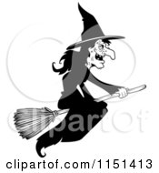 Cartoon Clipart Of A Black And White Wicked Witch Flying On A Broom Stick Vector Outlined Coloring Page