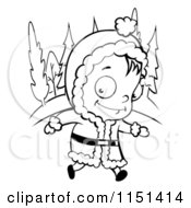 Cartoon Clipart Of A Black And White Little Girl Walking In The Snow Vector Outlined Coloring Page