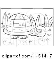 Cartoon Clipart Of A Black And White Grumpy Old Tortoise Near Plants Vector Outlined Coloring Page by Cory Thoman
