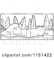 Cartoon Clipart Of A Black And White Swamp Gator Floating On Murky Water Vector Outlined Coloring Page by Cory Thoman