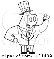 Cartoon Clipart Of A Black And White Patriotic Pig Vector Outlined Coloring Page