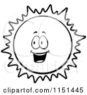 Cartoon Clipart Of A Black And White Happy Sun Vector Outlined Coloring Page