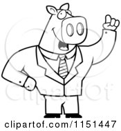 Cartoon Clipart Of A Black And White Business Pig With An Idea Vector Outlined Coloring Page