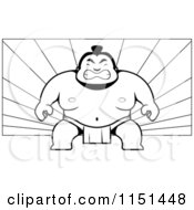 Cartoon Clipart Of A Black And White Tough Sumo Wrestler On A Ray Background Vector Outlined Coloring Page