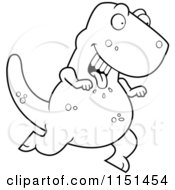 Cartoon Clipart Of A Black And White Hungry Tyrannosaurus Running With His Tongue Hanging Out Vector Outlined Coloring Page