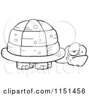 Cartoon Clipart Of A Black And White Grouchy Old Tortoise Vector Outlined Coloring Page by Cory Thoman
