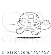 Cartoon Clipart Of A Black And White Fast Turtle Speeding By Vector Outlined Coloring Page by Cory Thoman