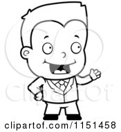 Cartoon Clipart Of A Black And White Toddler Businessman Presenting Vector Outlined Coloring Page