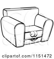 Cartoon Clipart Of A Black And White Chair Character Vector Outlined Coloring Page
