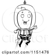 Cartoon Clipart Of A Black And White Space Alien Using A Jetpack Vector Outlined Coloring Page by Cory Thoman