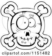 Cartoon Clipart Of A Black And White Silly Faced Skull And Crossbones Vector Outlined Coloring Page