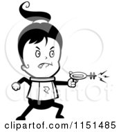 Cartoon Clipart Of A Black And White Space Ranger Girl Using A Ray Gun Vector Outlined Coloring Page