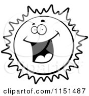 Cartoon Clipart Of A Black And White Excited Sun Character Vector Outlined Coloring Page