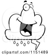 Cartoon Clipart Of A Black And White Lightning Cloud Character Vector Outlined Coloring Page