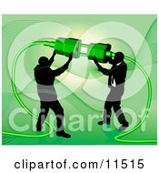 Two Businessmen Working Together To Connect A Plug And Socket Over Green Clipart Illustration