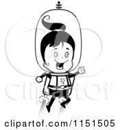 Cartoon Clipart Of A Black And White Happy Girl Using A Jet Pack In Space Vector Outlined Coloring Page by Cory Thoman